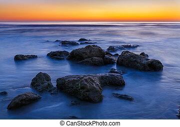 praia, amanhecer, pedras