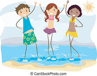 praia, amigos