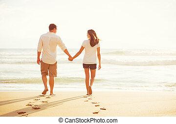 praia, andar, pôr do sol, par