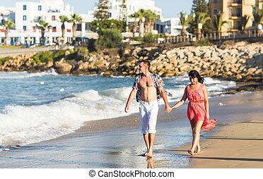 praia, andar, par, romanticos