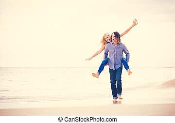 praia, andar, par, romanticos, jovem