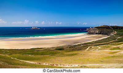 praia, anse, de, caneta, chapéu, ligado, a, presqu'ile, de,...