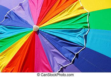 praia, arco íris, guarda-chuva