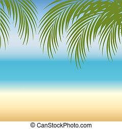 praia areia, fundo, mar