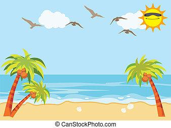 praia areia, mar, fundo