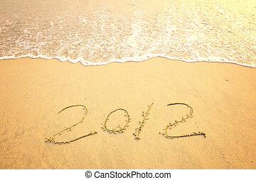 praia areia, mensagem, ano, novo