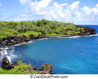 praia, areia, pretas, maui, havaí