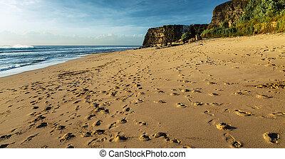 praia arenosa, com, pegadas