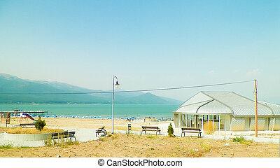 praia arenosa, de, prespa, lago, macedonia.