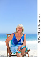 praia, assento mulher