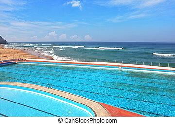 praia, atlântico, piscina, costa
