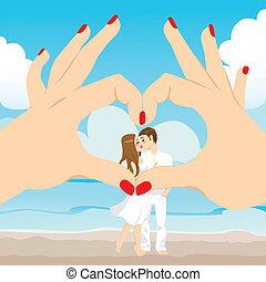 praia, beijo, ame coração