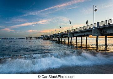 praia, belmont, longo, cais, pôr do sol, california.