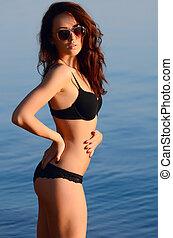 praia, bonito, roupa interior, mulher