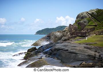 praia, brasil, florianopolis, santinho