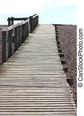 praia, cais, longo, vazio