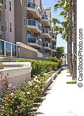 praia, california., sulista, longo, condomínios