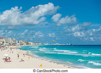 praia cancun, panorama, méxico