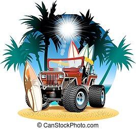 praia, car, vetorial, 4x4, caricatura