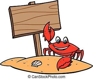 praia, carangueijo, sinal