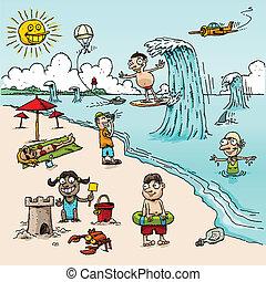 praia, caricatura, cena