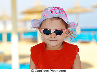 praia,  closeup, Retrato, menina, criança, sorrindo, Feliz