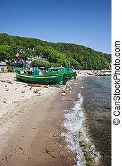 praia, com, barcos pesca, em, gdynia