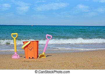 praia, com, brinquedos, verão, cena