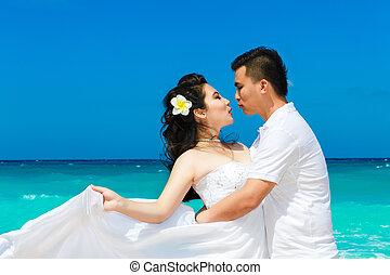 praia., concept., lua mel, noivo, tropicais, noiva, asiático, casório