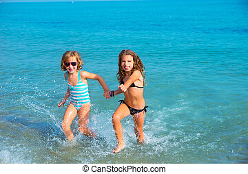 praia, corrida meninas, junto, costa, amigos, crianças