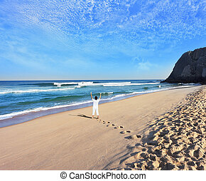praia, costa, atlântico, enorme, bonito
