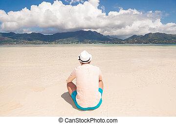 praia, costas, descansar, homem, jovem