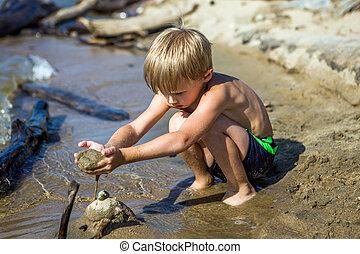praia, criança