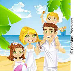 praia, crianças, família