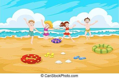 praia, crianças, ilustração