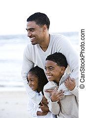 praia, crianças, pai, dois, africano-americano