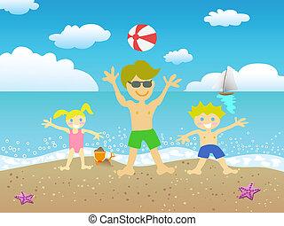 praia, crianças, pai, tocando
