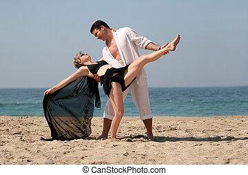 praia, dançar