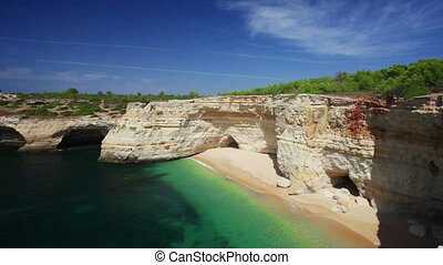 Praia de Benagil beach on atlantic coast, Algarve, Portugal,...