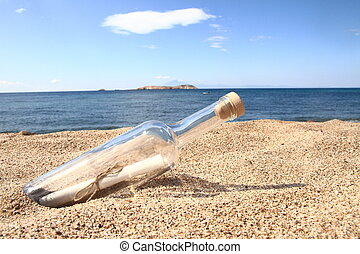 praia, dentro, lavado cima, garrafa, mensagem