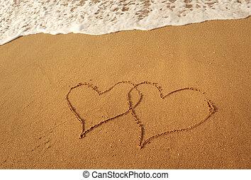 praia, desenhado, dois corações