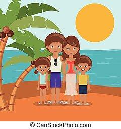 praia, desenho, férias, família