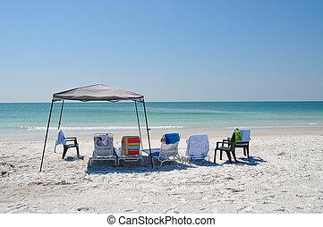 praia, dia, família
