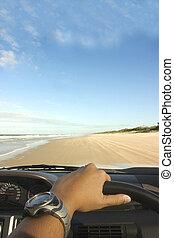 praia, dirigindo