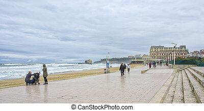 praia, em, biarritz, frança