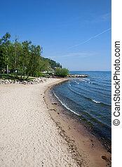 praia, em, gdynia, em, mar báltico, em, polônia