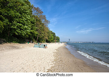 praia, em, gdynia, redlowo