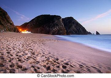praia, em, noite