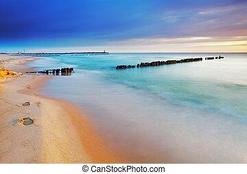 praia, em, polônia, -, mar báltico, em, amanhecer
