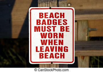 praia, emblema, resistido, sinal